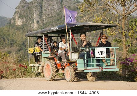Thai People Use Tractor For Service Travelers Tour Phu Pa Po Mountain Or Fuji City Loei On Lateritic