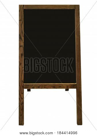 Old wooden blackboard for restaurant menu on white background.