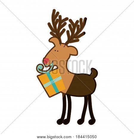 silhouette caricature color of reindeer with gift box and half shadow vector illustration