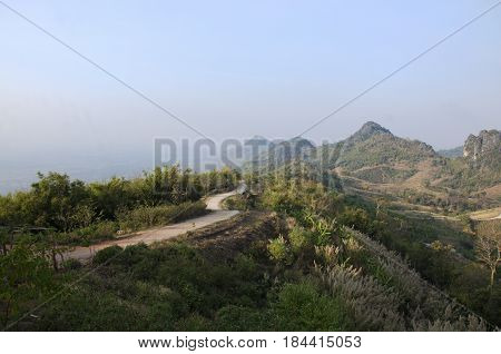 View Landscape Of Phu Pa Po Mountain Or Fuji City Loei And Way Lateritic Soil Road Go To On Top Of M
