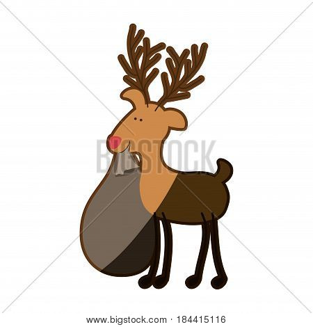 silhouette caricature color of reindeer with christmas gift bag and half shadow vector illustration