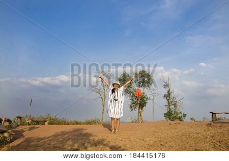 Thai Women People Travel And Posing On Top Of Phu Pa Po Mountain Or Fuji City Loei