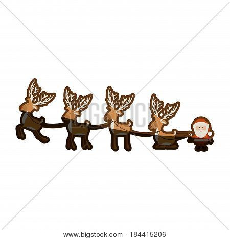 background with caricatures of reindeers and santa claus and half shadow vector illustration