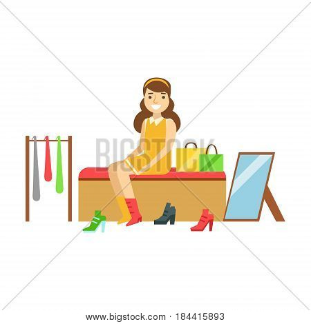 Woman trying on several pairs of new shoes in the store, colorful vector illustration isolated on a white background