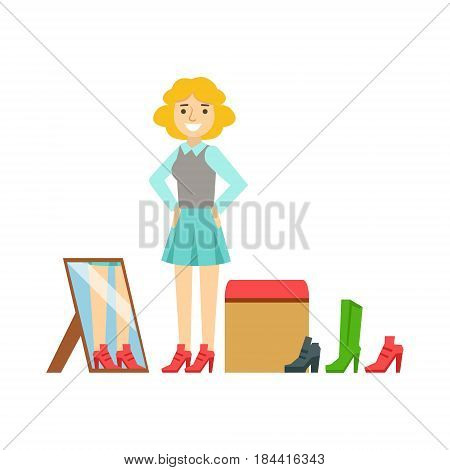 Women trying on shoes in a shoes store, colorful vector illustration isolated on a white background