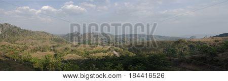 Panorama Landccape And View Of Phu Pa Po Mountain Or Fuji City Loei