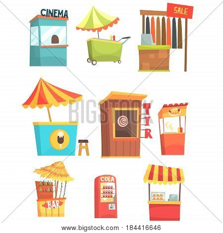 Fair And Market Street Food And Shop Kiosks, Small Temporary Stands For Sellers Set Of Cartoon Illustrations. Colorful Little Vending Places For Outdoors Festival Isolated Vector Objects.