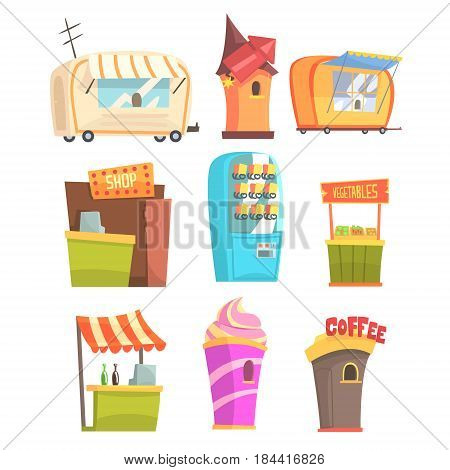 Fair And Market Street Food And Shop Kiosks, Small Temporary Stands For Sellers Series Of Cartoon Illustrations. Colorful Little Vending Places For Outdoors Festival Isolated Vector Objects.