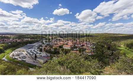 Moravsky Krumlov town in southern Moravia Czech Republic. Spring view during sunny day.