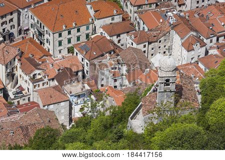 Old Church Inside Stari Grad, Kotor, Montenegro. Kotor Bay And Old Town From Lovcen Mountain. Monten