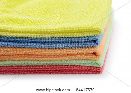 Close up of stacked colorful microfiber cloths