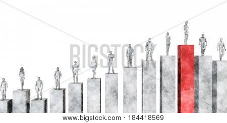 Business Management Strategy and Development as a Chart Concept 3D Illustration Render