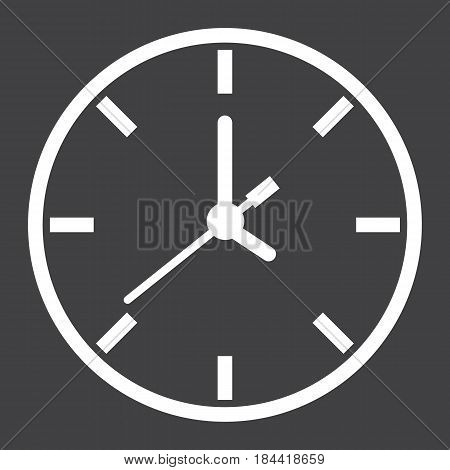 Clock line icon, time and website button, vector graphics, a linear pattern on a black background, eps 10.