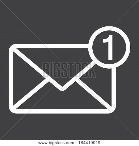 New message line icon, email and website button, vector graphics, a linear pattern on a black background, eps 10.