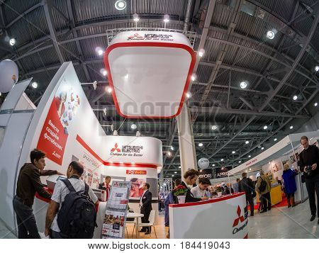 MOSCOW RUSSIA - APRIL 21 2017: Booth of Mitsubishi Electric company at PhotoForum 2017 trade show and exhibition in Moscow Russia on April 21 2017.