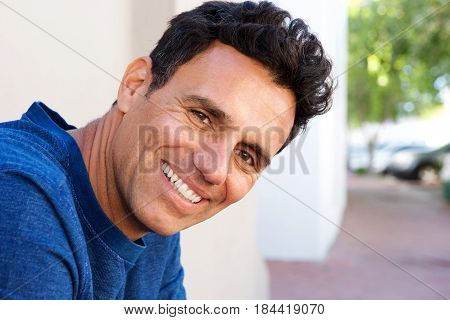 Close Up Attractive Mature Man Smiling