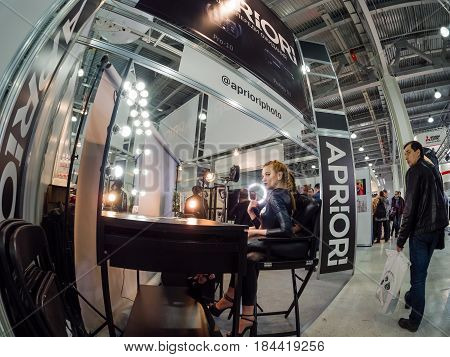 MOSCOW RUSSIA - APRIL 21 2017: Workplace for makeup at booth of Aprioiri Photo studio at PhotoForum 2017 trade show and exhibition in Moscow Russia on April 21 2017.