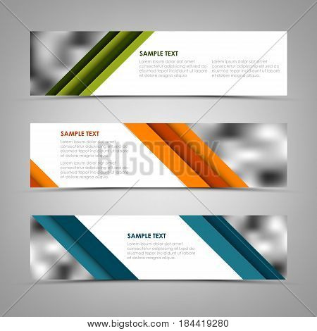 Collection banners with oblique colored stripes template vector eps 10