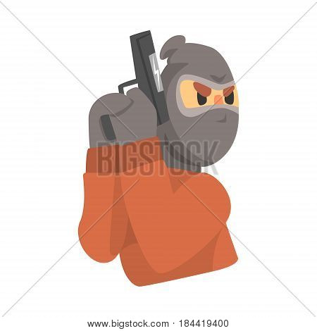 Masked robber with gun. Colorful cartoon character isolated on a white background