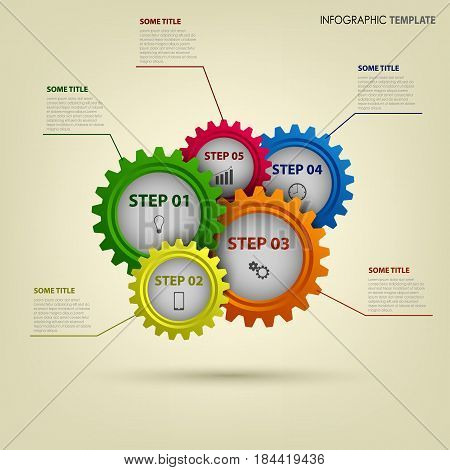 Info graphic with abstract colored gears template vector eps 10