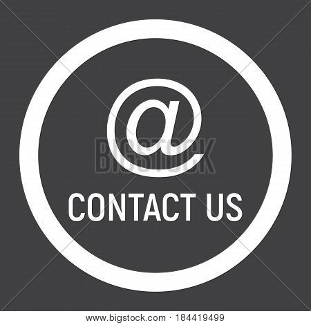 Email address line icon, contact us and website button, vector graphics, a linear pattern on a black background, eps 10.