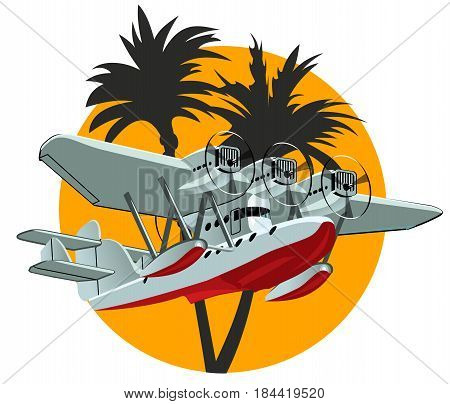 Vector Cartoon Retro Sea Plane. Available EPS-10 vector format separated by groups and layers for easy edit