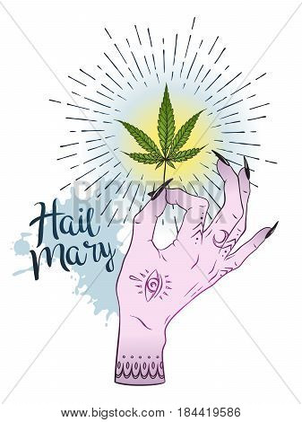 Marijuana Leaf In Female Hand Isolated Over White Background. Sticker, Tattoo Or Print Design Cannab