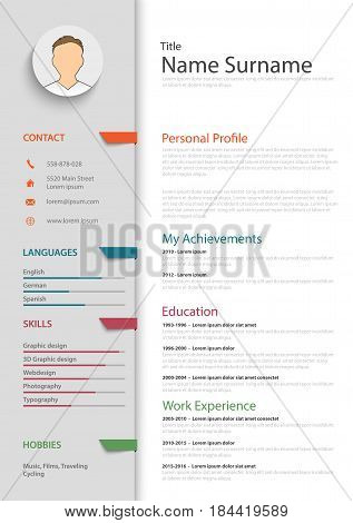 Professional resume cv with colored bookmarks template vector eps 10