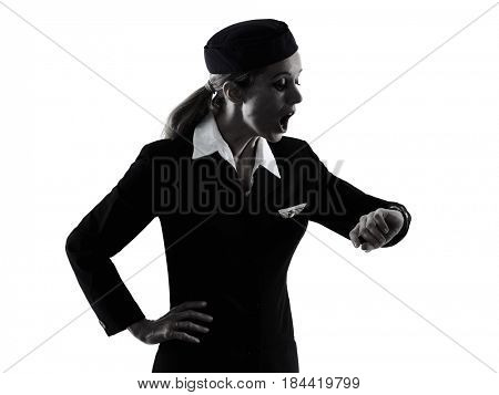 one caucasian Stewardess cabin crew  woman isolated on white background in  silhouette