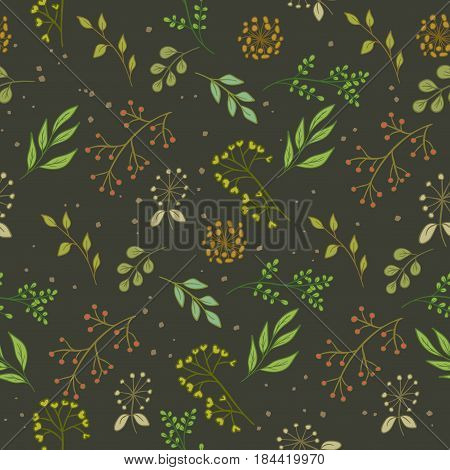 Floral Pattern Color Seamless Dark