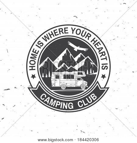 Camper and caravaning club. Vector illustration. Concept for shirt or logo, print, stamp or tee. Vintage typography design with Camper trailer and mountain silhouette.