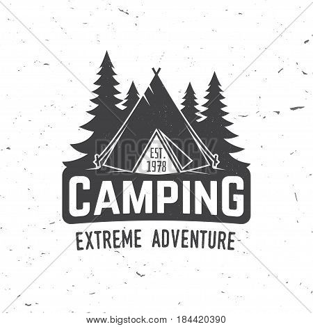Camping extreme adventure . Vector illustration. Concept for shirt or logo, print, stamp or tee. Vintage typography design with Camper tent and forest silhouette.