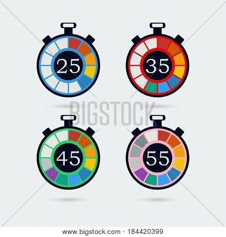 Timer icons with color gradation. Counting down time. Vector design
