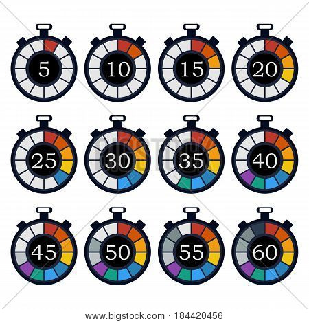 Colorful timer icon set. Counting down time. Vector design