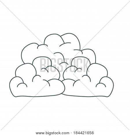 gray hand drawing silhouette of cumulus clouds vector illustration