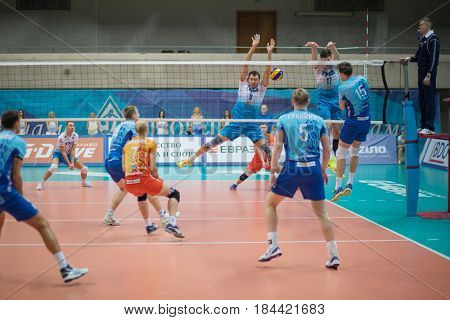 MOSCOW - NOV 5, 2016: Athletes play volleyball during game Dynamo (Moscow) and Ural (Ufa) in Palace of Sports Dynamo