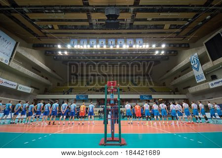 MOSCOW - NOV 5, 2016: Two teams before volleyball game Dynamo (Moscow) and Ural (Ufa) in Palace of Sports Dynamo