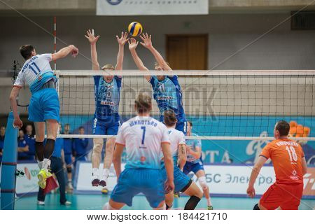 MOSCOW - NOV 5, 2016: Athletes during volleyball game Dynamo (Moscow) and Ural (Ufa) in Palace of Sports Dynamo