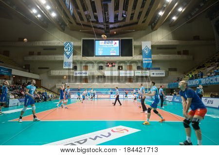MOSCOW - NOV 5, 2016: Teams before volleyball game Dynamo (Moscow) and Ural (Ufa) in Palace of Sports Dynamo