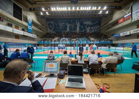 MOSCOW - NOV 5, 2016: Sports referees at volleyball game Dynamo (Moscow) and Ural (Ufa) in Palace of Sports Dynamo