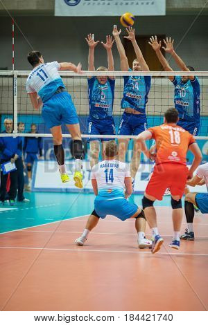MOSCOW - NOV 5, 2016: Athletes jump at volleyball game Dynamo (Moscow) and Ural (Ufa) in Palace of Sports Dynamo