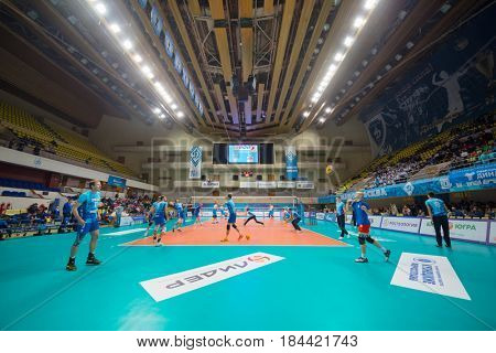 MOSCOW - NOV 5, 2016: Training before volleyball game Dynamo (Moscow) and Ural (Ufa) in Palace of Sports Dynamo