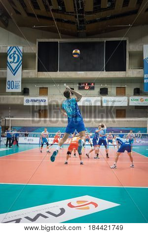 MOSCOW - NOV 5, 2016: Athletes play volleyball at game Dynamo (Moscow) and Ural (Ufa) in Palace of Sports Dynamo