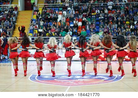 MOSCOW - JAN 27, 2017: Cheerleaders dance during Basketball match CSKA (Moscow) - Anadolu Efes (Istanbul) in Megasport stadium