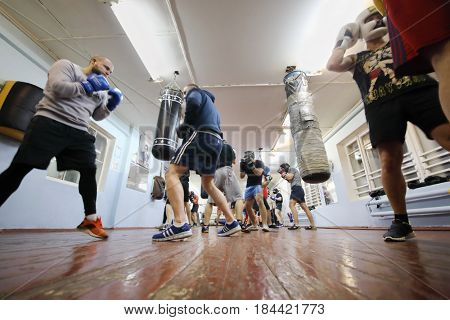 MOSCOW - FEB 9, 2017: Young men train in Dobrynya boxing club