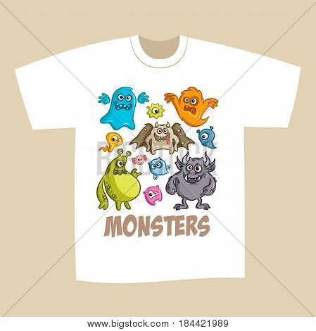 T-shirt Print Design Cartoon Cute Monsters Vector Illustration