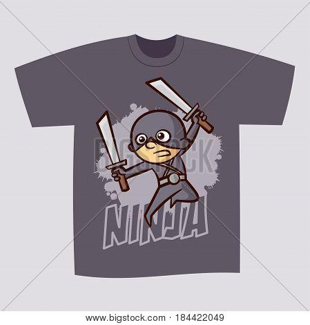 T-shirt Print Design Superhero Ninja Boy Vector Illustration