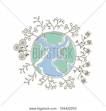 watercolor silhouette of planet earth surrounded by plants and trees vector illustration