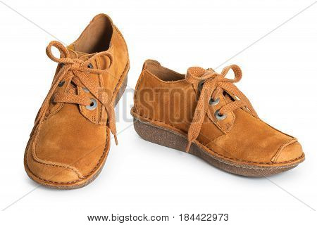Pair Of Fashion Stylish Chamois Leather Shoes For Women, Isolated On A White Background Close Up.
