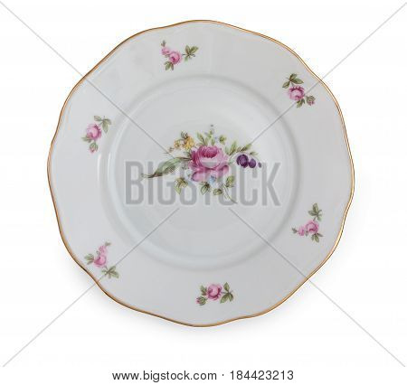 Vintage Czech Porcelain Plate, Isolated On A White Background, Top View, Close Up.